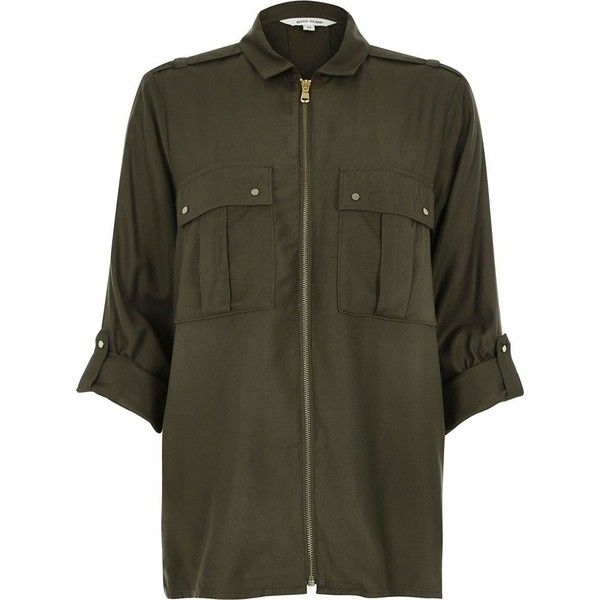 River Island Khaki military zip up shirt (74 CAD) ❤ liked on Polyvore featuring tops, shirts, khaki, women, epaulette shirt, military style shirts, military top, khaki military shirt and pocket tops