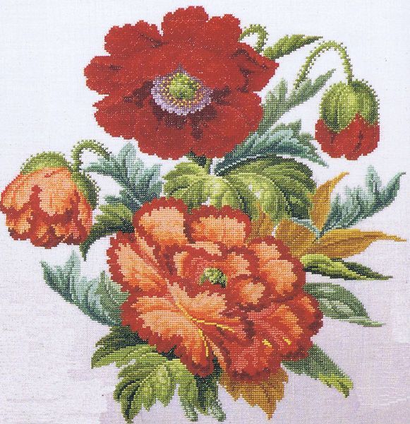A brightly coloured traditional flower picture.