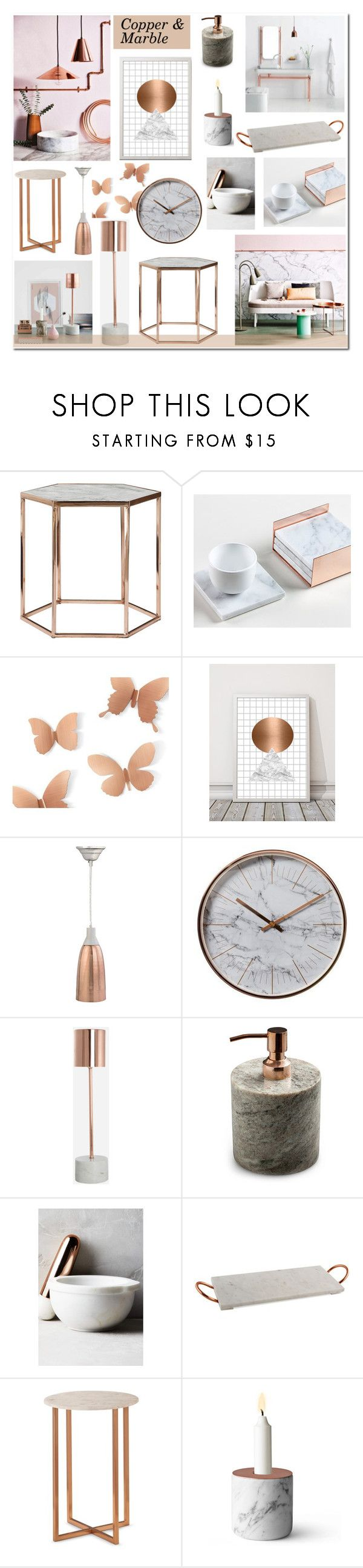 """Copper & Marble"" by anyasdesigns ❤ liked on Polyvore featuring interior, interiors, interior design, home, home decor, interior decorating, Umbra, Holly's House, Therapy and Nordstjerne"