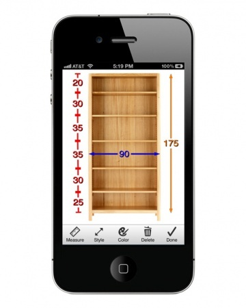 Take pic of item that you want then adds measurements when you get home you can see if it will fit ... Photo Measures (iPhone, iPad)