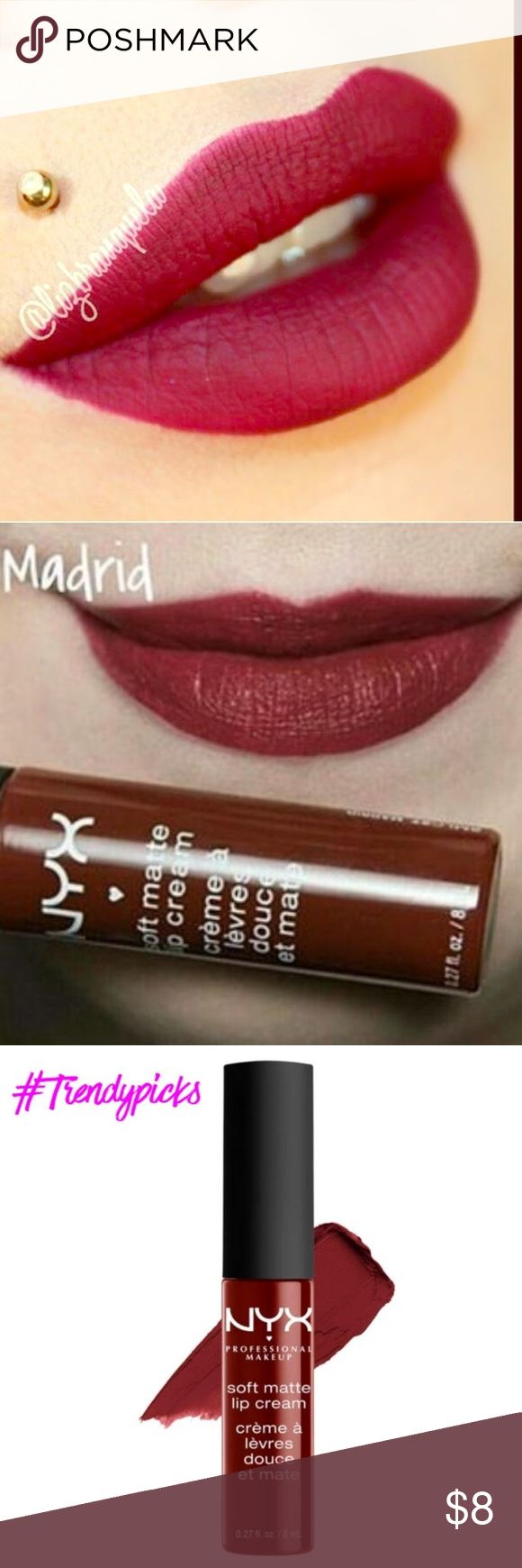 NEW NYX Soft Matte Lip Cream in Madrid NEW NYX Soft Matte Lip Cream in Madrid Brand new super cute soft matte lip cream in Madrid. A sexy red lip color. Cruelty free, sexy, smooth color. Very pigmented and adds a nice finish to any look. Softens lips and gives amazing color without any stickiness. Straight from NYX and is a very popular color. Bundle and save! Free gift with any $20 purchase! Makeup Lipstick