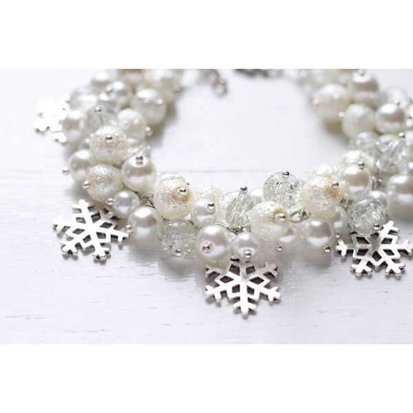 Winter Wedding Bridesmaid Jewelry Pearl Cluster Bracelet White Snow,... (£18) ❤ liked on Polyvore featuring jewelry, white jewelry and snowflake jewelry
