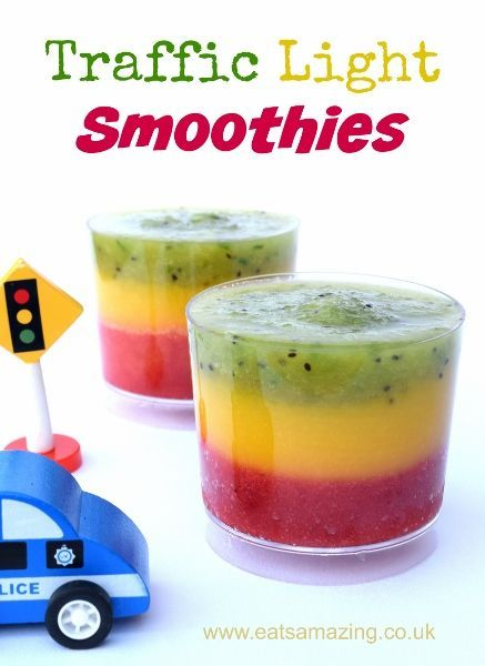 Fun and Healthy Traffic Light Fruit Smoothie Recipe from Eats Amazing UK - great healthy food idea for kids
