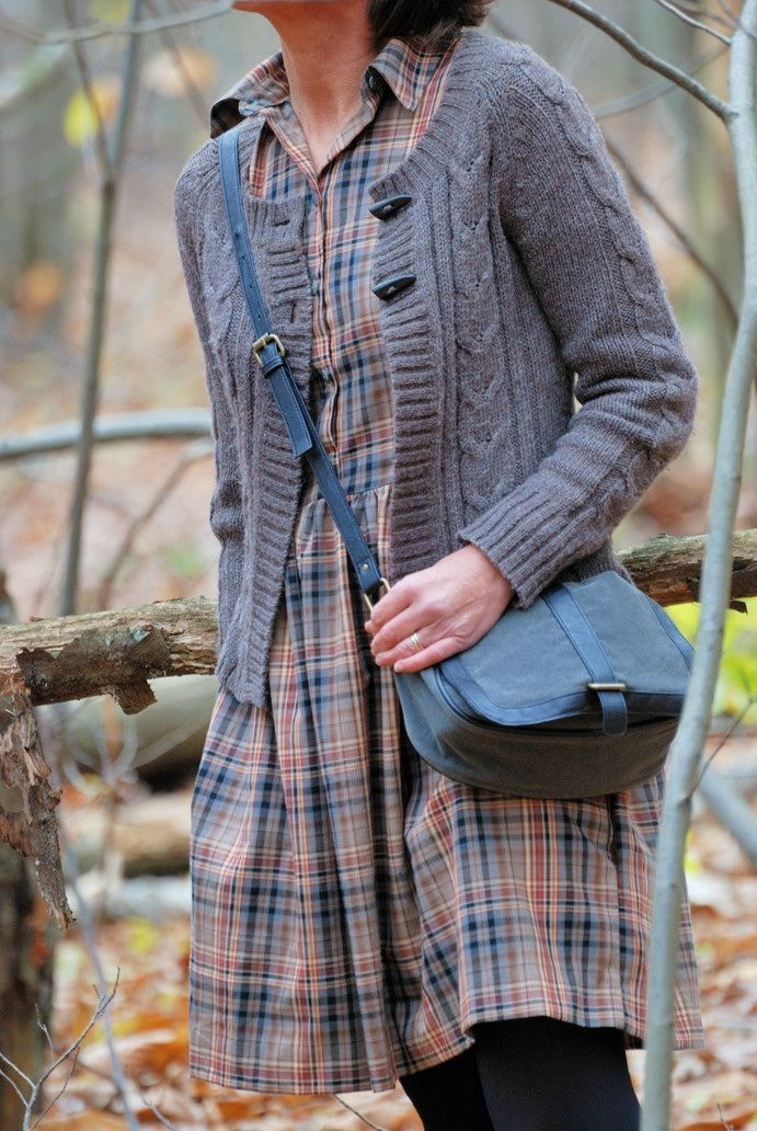 Plaid dress (to the ankle) + cardi + cross body bag