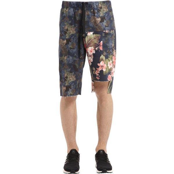 Mrkt Men Camo & Floral Cotton Sweat Shorts ($94) ❤ liked on Polyvore featuring men's fashion, men's clothing, men's activewear, men's activewear shorts, camouflage, mens sweatshorts, mens activewear and mens activewear shorts