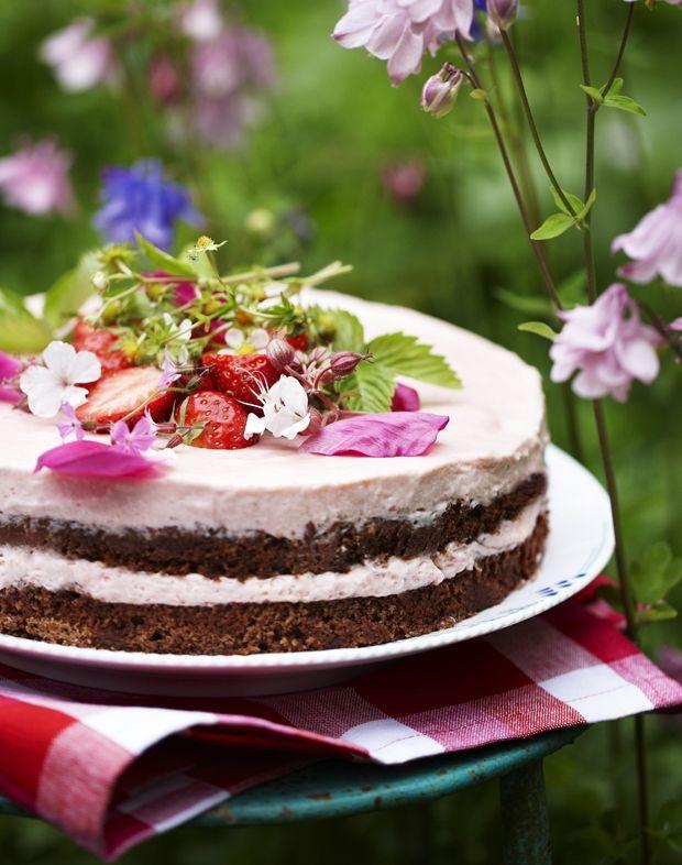 Islagkage med jordbærmousse og chokoladebunde