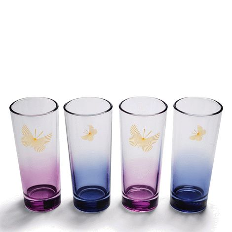 Two blue and two violet ombré glasses with butterfly accents. Each glass holds 325 ml and is 15 cm H. Hand wash. Avon will donate 10% of the sale price from domestic violence fundraising products to the Avon Foundation for Women Canada to support Speak Out Against Domestic Violence programs across the country.