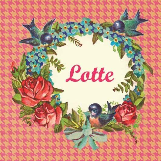 Geboortekaartje Lotte - retro vintage naamkader met  bloemen vogeltjes - www.petitkonijn.nl