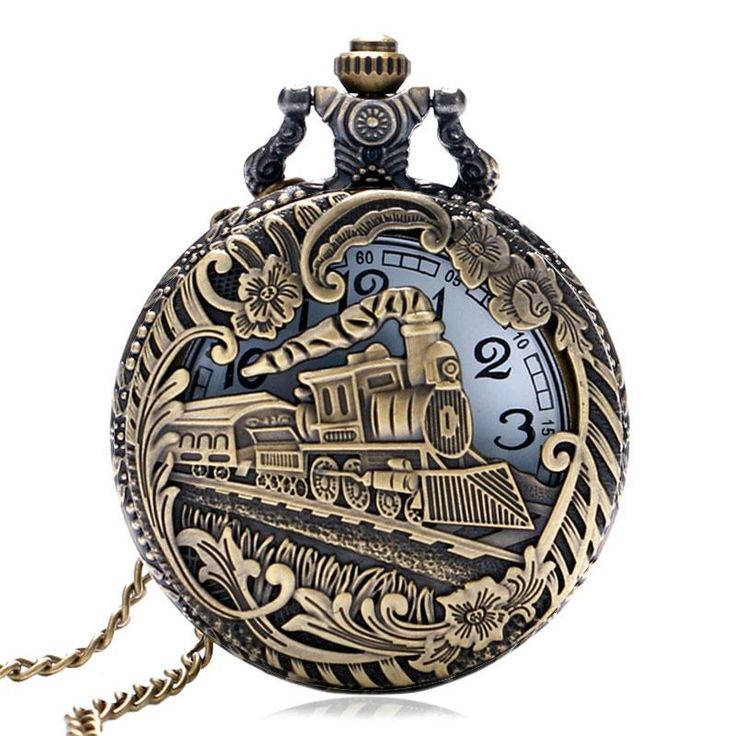 Locomotive Steam Engine Train Quartz Pocket Watch - Bronze Color