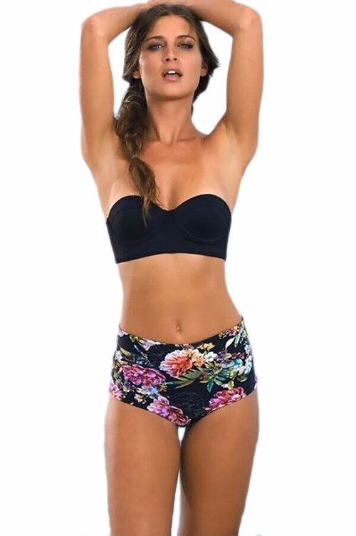 - Lovely floral strapless stylish swimsuit bikini for the stylish woman - Stylish design sure to turn heads - Perfect for the beach or pool - Made from nylon - Available in 3 styles