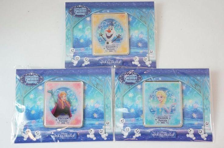 S RARE! Tokyo Disney Ambassador Hotel Stay LE Pin Frozen Fantasy 2016 3 Set