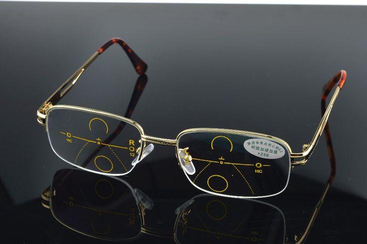 Progressive multifocal reading glasses gold frame See near far Ultra light alloy intelligence +1.0 +1.5 +2.0 +2.5 +3.0 +3.5 +4.0