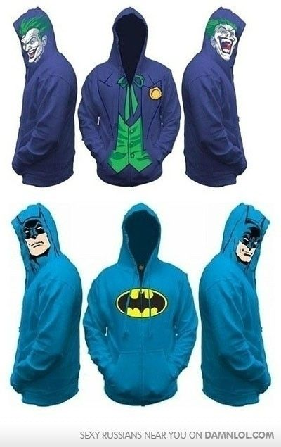 ok so i cant wear the joker one... cuz its terrifying.... but LOVE the batman one!