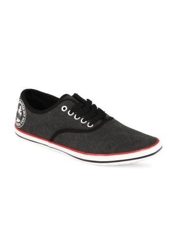 Casual Shoes For  Men  Roadster Charcoal Up  To 30% Off Men have a natural liking for all things denim, and Roadster exploits that knowledge by giving them shoes that have a denim finish and look. Crafted from canvas for comfort with a stylish look,Charcoal grey, round toe, canvas shoes with central lace up