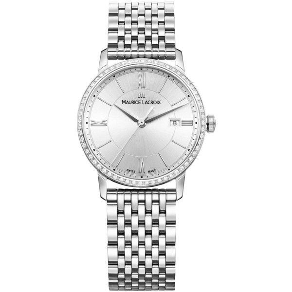 Maurice Lacroix EL1094-SD502-110-1 Women's Eliros Diamond Date... (£1,090) ❤ liked on Polyvore featuring jewelry, watches, roman numeral watches, dial watches, diamond jewellery, roman numeral wrist watch and slim watches