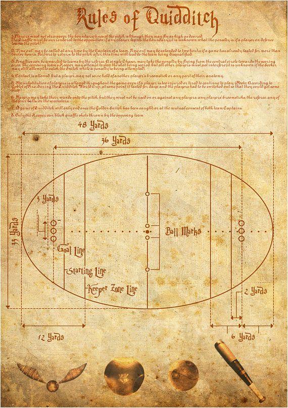 Harry Potter Print Quidditch Rules Unique Gift (Bludger