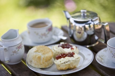 Tea and #scones at the #Nationaltrust tearoom at Corfe Castle, on the Kingston Lacy estate, #Dorset.