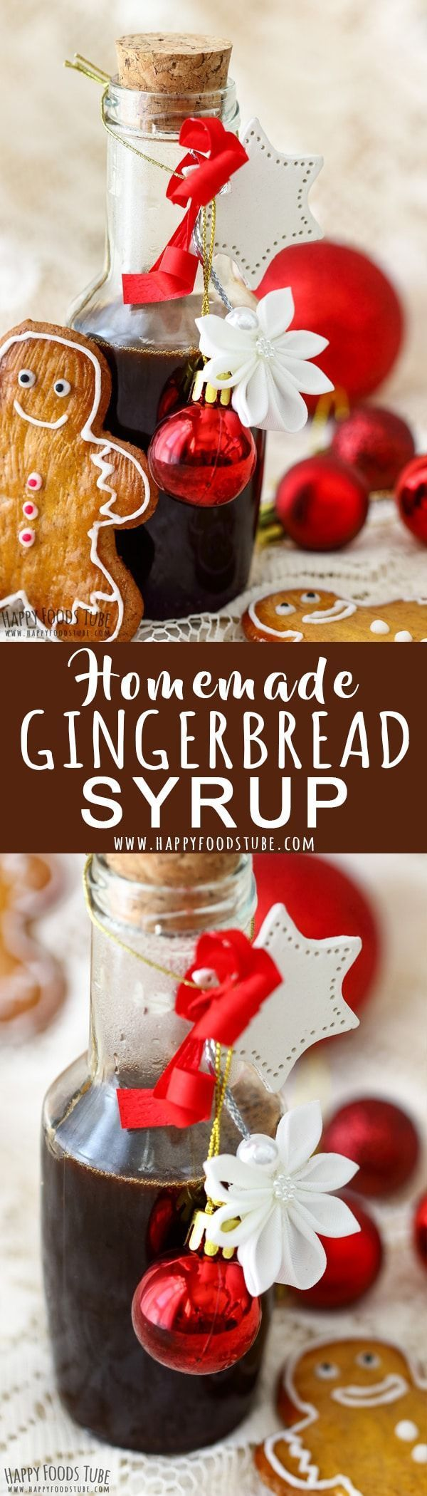 Love gingerbread flavor? Then you will fall in love with this homemade gingerbread syrup. It is all you need to flavor your pancakes, coffee, tea or crepes. Step by step how to make gingerbread syrup at home. #gingerbread #syrup #recipe #holidays #christmas #howtomake #homemade #coffee #pancakes via @happyfoodstube
