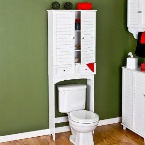 Nassau Louvered Space Saver by Southern Enterprises Inc. $179.95. 25 in. w x 9.5 in. d x 69.25 in. tall. Louvered doors. 2 drawers. 2 adjustable shelves inside cabinet. Frost white finish. The Nassau Louvered Space Saver is the solution for a shortage of storage space in your bathroom. Designed to fit over the toilet tank this cabinet takes advantage of unused space. The louvered doors open to reveal ample storage space with interior shelves. Just beneath the doors two drawers ...