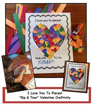 "Mother's Day activities: ""I Love You To Pieces!"" Rip & Tear craft. Great for party day. Generic, so that it can also be made for Valentine's Day, Father's Day, & Grandparents Day too. Wonderful fine motor skill that strengthens those finger muscles. :-)"
