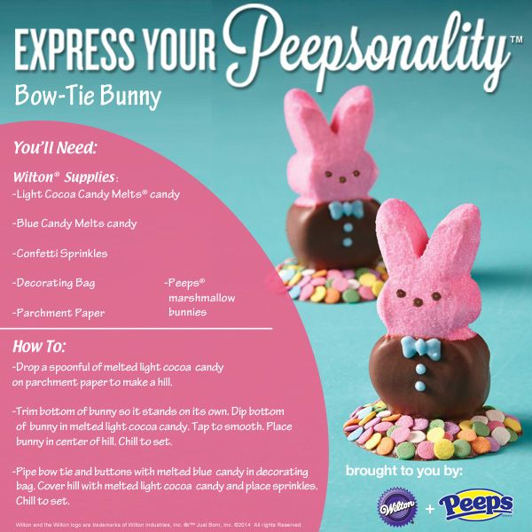 Express your Peepsonality with Wilton + Peeps. Chocolate Dipped Bow-Tie Bunny How-To.Desserts,  Internet Site, Peep Ideas,  Website, Holiday Food, Web Site, Easter Spr, Wilton Cake, Easter Ideas