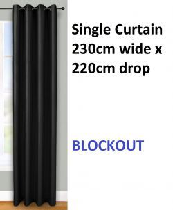 Brand new single curtain, 230 cm wide x 220 cm drop with eyelet top colour black.   The curtain will suit a window or door between approximately 115 cm and 150 cm wide.   All you will need is a plain metal or wooden rail to hang your curtains. As there are no complicated hooks or rings required, you can transform your room in minutes!