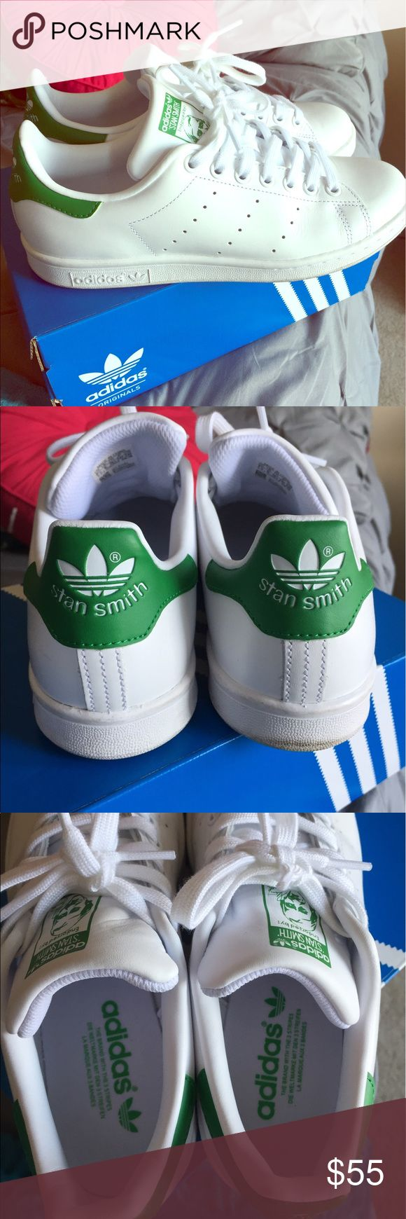 Stan Smiths 7.5 Original adidas Stan Smith shoes. Almost new. Wore them 4 times. Just not as crazy about them as I thought I would be. Any signs of wear are shown in the pictures. They are almost perfect. Still in original box. Adidas Shoes Sneakers