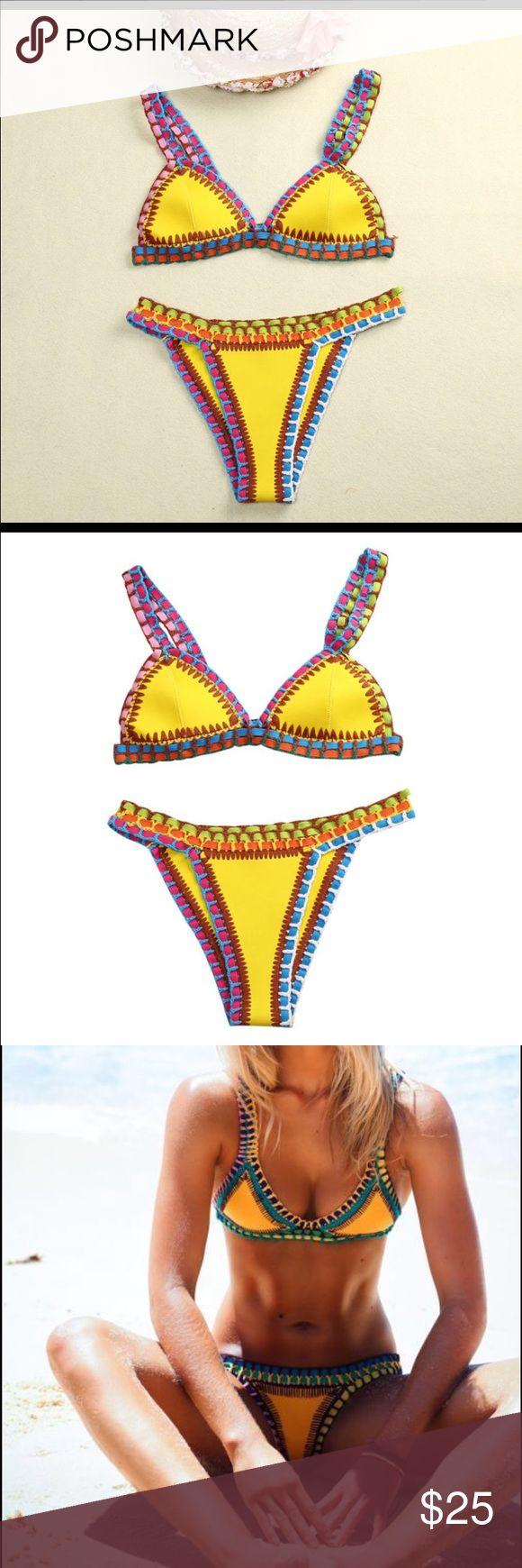 Yellow bikini set Yellow stitched bikini set. Never worn bought too small. Super cute. Not free people just tagged for exposure. Free People Swim Bikinis