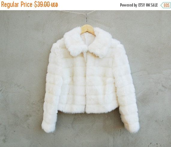 Vintage sparkling white fur jacket  synthetic white by semivint