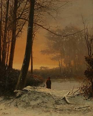 Winter forest landscape by Frederik Niels Martin Rohde