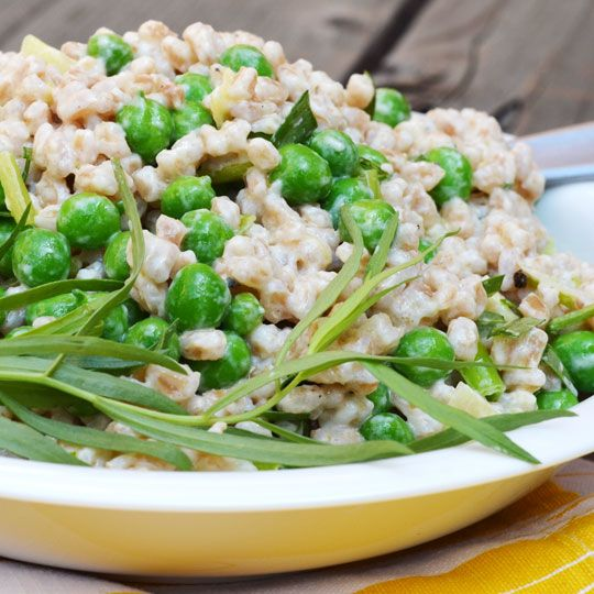Farro salad with peas and leeks: used quick-cooking farro, ~2 cups frozen peas, and subbed mint for tarragon. Flavors were really fresh with a nice heft from the farro. Very tasty - will make again!