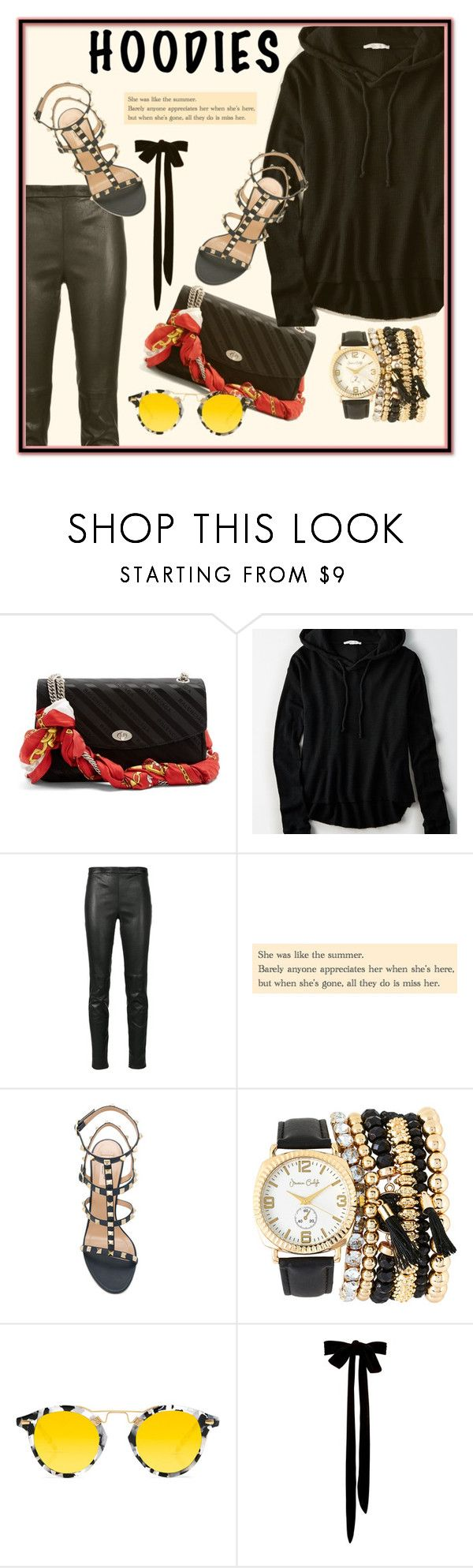 """""""Black"""" by pinkdream235 ❤ liked on Polyvore featuring Balenciaga, American Eagle Outfitters, Yves Saint Laurent, Valentino, Jessica Carlyle, Krewe, Hoodies, leatherleggings, Balenciagabag and aehoodie"""
