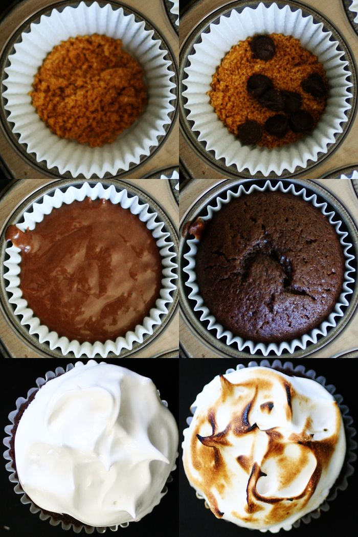 S'more Cupcake {Recipe} - use brownie mix and large marshmallow melted on top