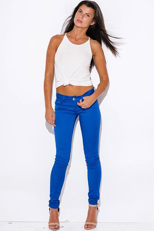 Cute cheap royal blue low rise fitted skinny pants