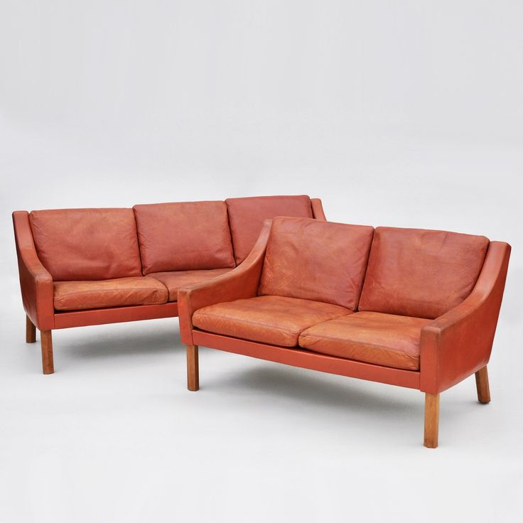 Pair of Classic Danish Leather Sofas with Feather Cushions 1960s