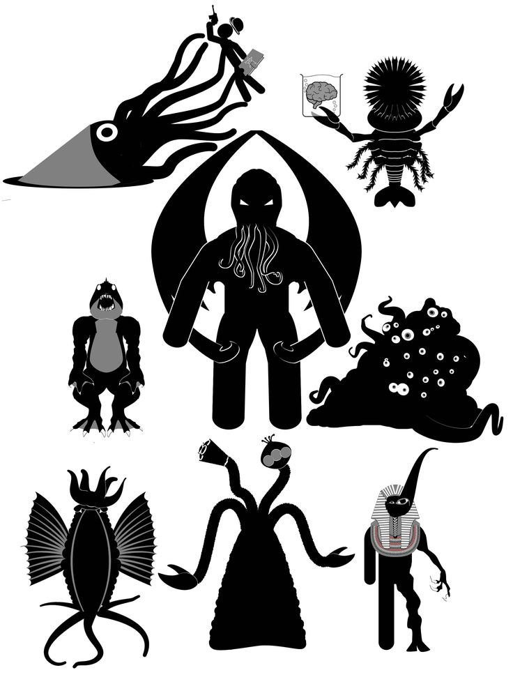 Various cthuloid beasties (and one unfortunate investigator) in my usual inimitable style  #cthulhu #callofcthulhu #hplovecraft #lovecraft #cthulhumythos #rpgs #roleplayinggames #lovecraftianhorror #lovecraftmythos #deepones #deepone #shoggoth #migo #yuggoth #yith #greatrace #oldones #greatoldones #cthonians #investigator #nyarlethotep