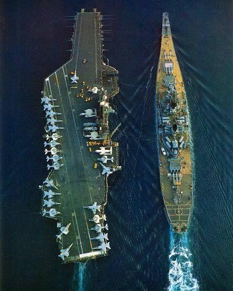 U.S. Navy aircraft carrier USS Midway (CV-41) and battleship USS Iowa, (BB-61) in Persian Gulf on December 1987.