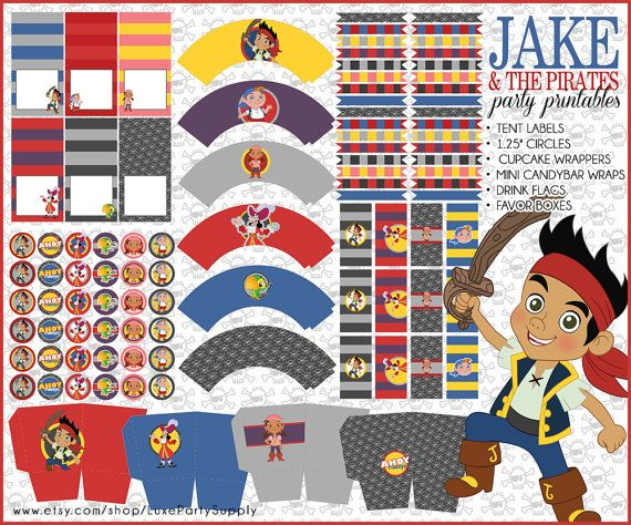 DIY PDF Printable Jake and the Neverland Pirates Party Package Girl Boys Birthday Party Supplies cupcake toppers cupcake wrapper party favor on Etsy, $16.99