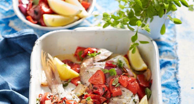 Whole barbecued snapper with salsa rossa
