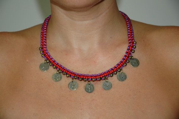 Necklace two colour with metal coins