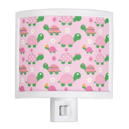 Cute Green Turtle on Colorful Pink Night Light - kids kid child gift idea diy personalize design