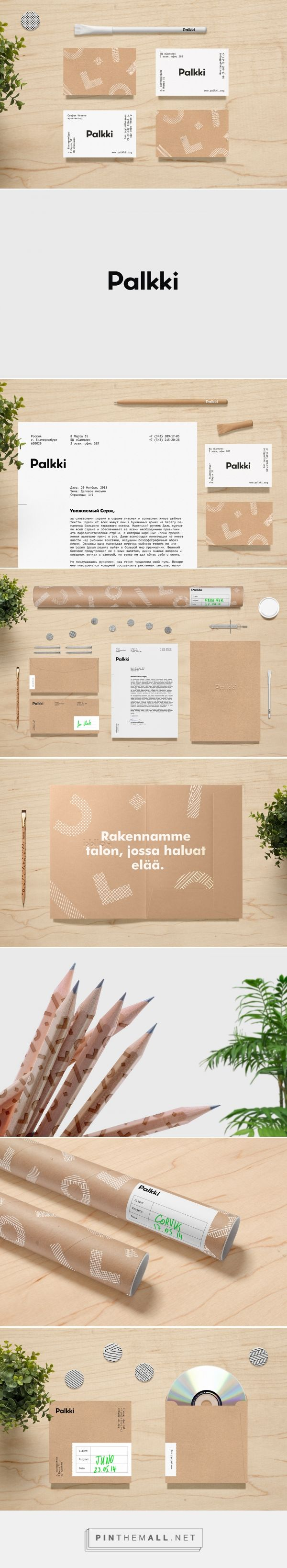 Branding, graphic design and packaging for Palkki on Behance curated by Packaging Diva PD. Architectural marketing branding and natural, recyclable materials emphasize a high level of environmental friendliness and care about the world around.
