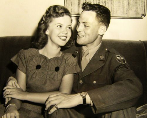 Shirley Temple and John Agar, announcing their engagement, 1940s.