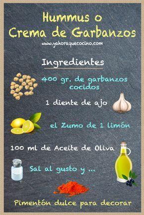 Ingrediente para Hacer Hummus o Crema de Garbanzos
