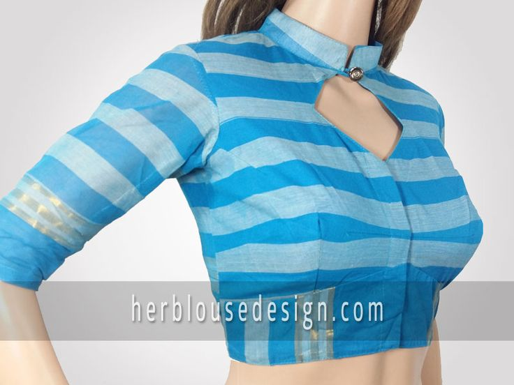 Front neck collar with button simple blouse design for individual look | herblousedesign.com