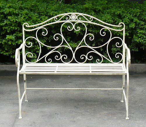 Perfect Wrought Iron Patio Benches | WHITE WROUGHT IRON SHABBY CHIC GARDEN OUTDOOR  BENCH 3.4FT 2