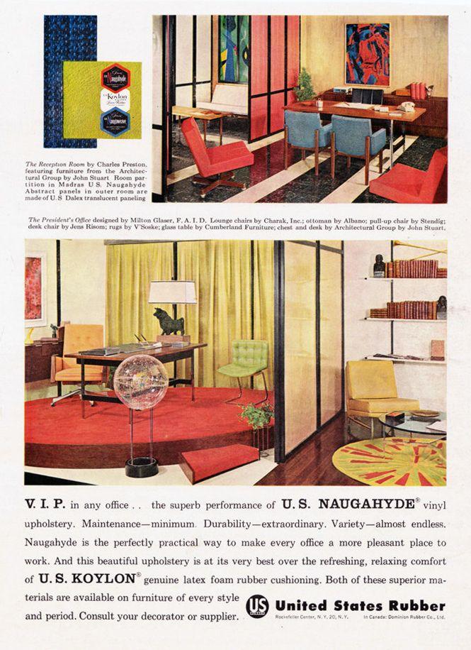 Vintage Ad Naugahyde Koylon Office Milton Glaser Interior Design Decor Mad  Men Midcentury Modern Retro Advert For Framing  Free USA Shipping