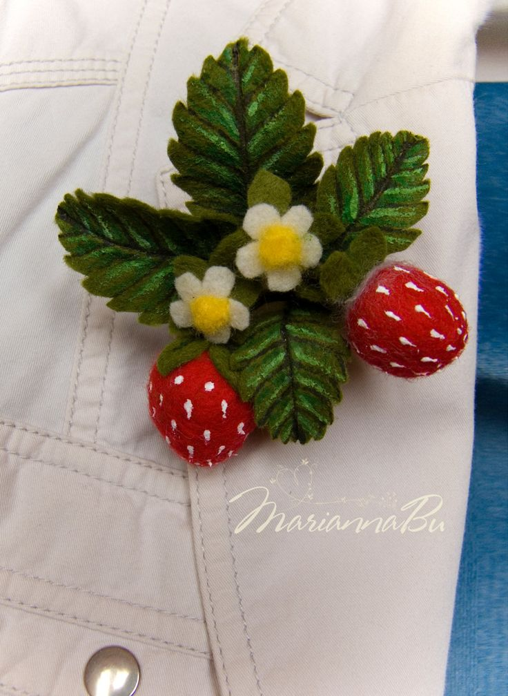 """Needle felted brooch """"Strawberry""""  - pinned by pin4etsy.com"""