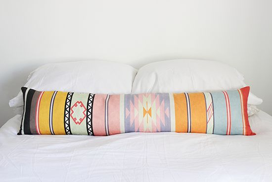 lovely colours and aztec print on this long pillow