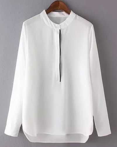 Graceful Long Sleeve Stand-Up Collar High-Low Hem Chiffon Blouse For Women